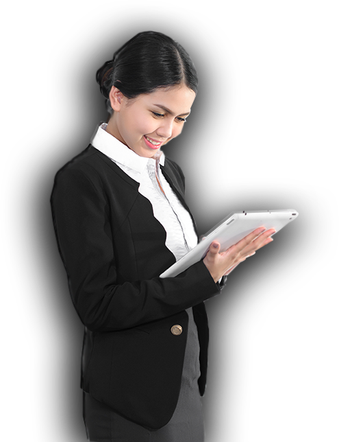 Businesswoman using web-based enteprise resource planning on tablet