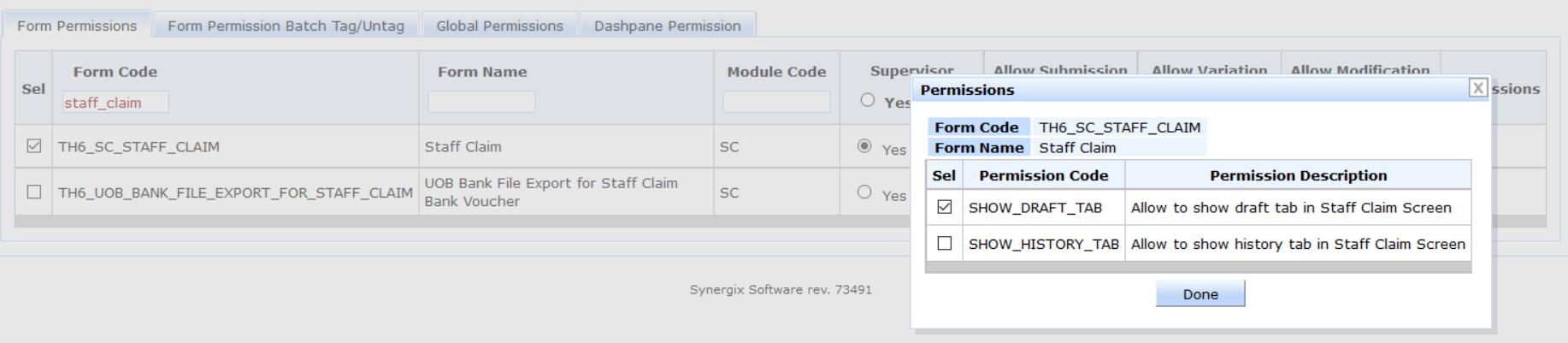 Synergix E1 ERP System staff claim screen