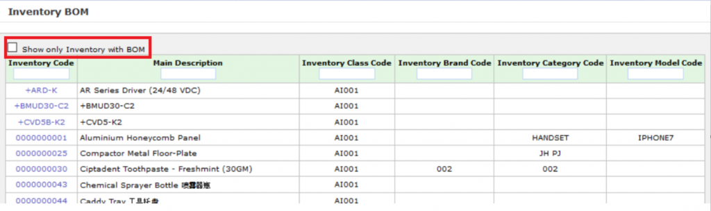 synergix erp system inventory BOM