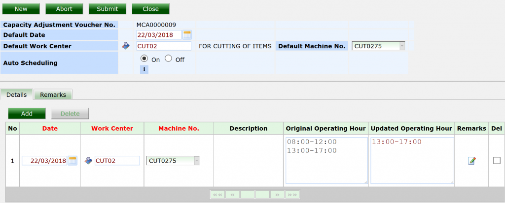 synergix erp system machine capacity adjustment screen