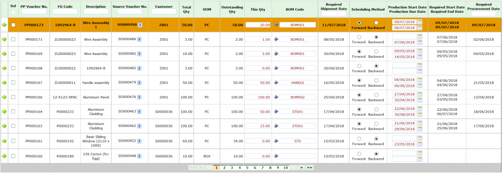 synergix erp system production planning screen