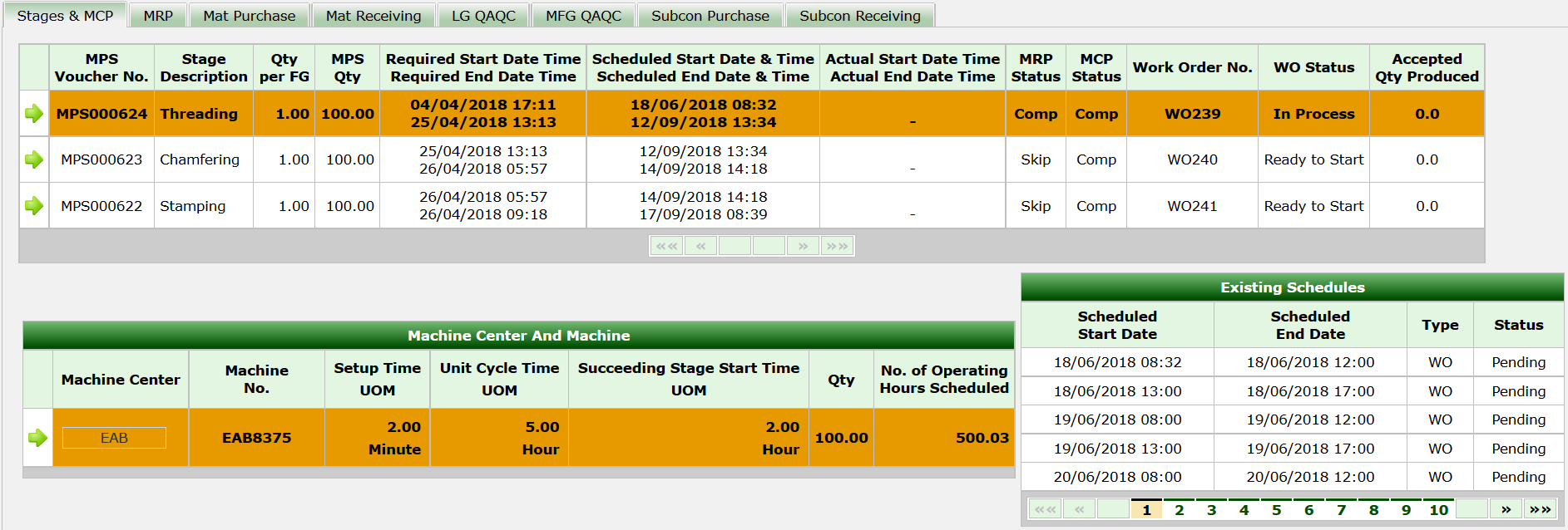 synergix erp system order status