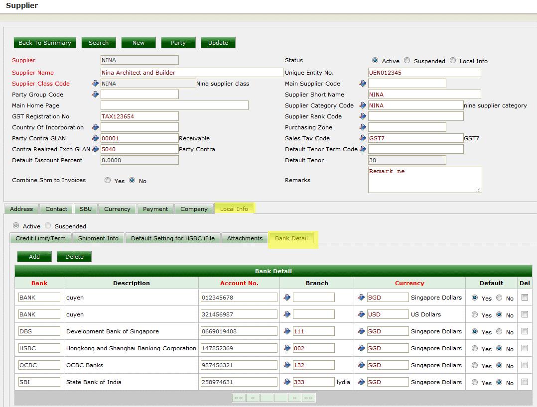 ERP System - Supplier Master
