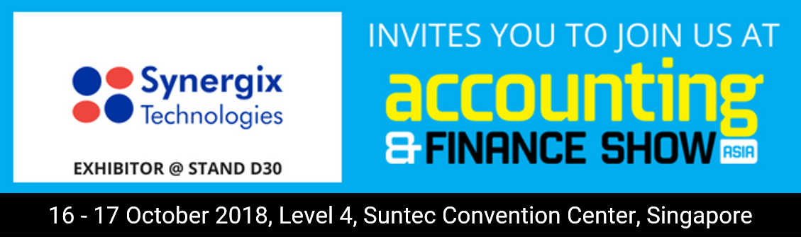 synergix e1 erp system at accounting and finance show 2018 - Suntec Singapore