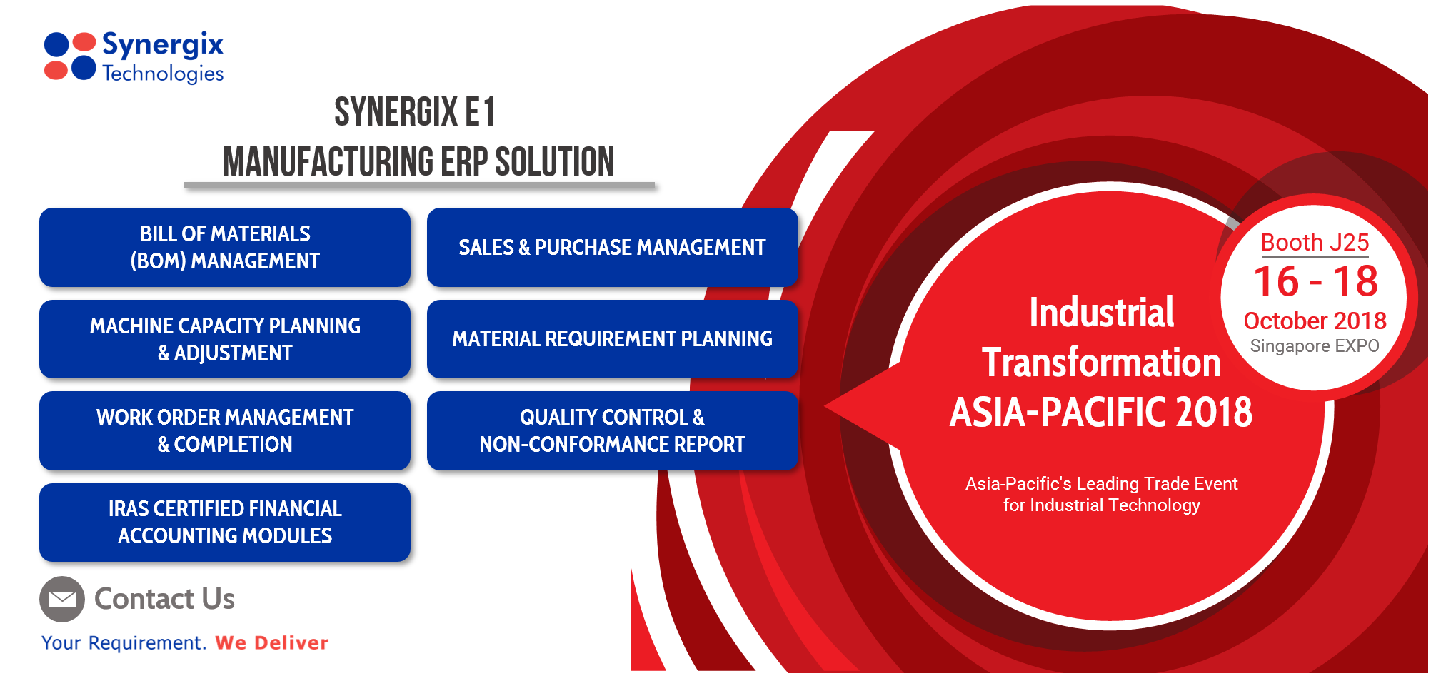 synergix e1 erp system at industrial transformation asia pacific 2018