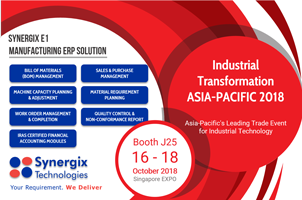 Synergix Technologies will be exhibiting at the Industrial Transformation Asia Pacific 2018