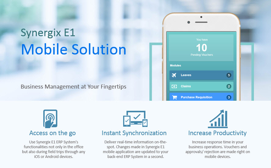 Synergix E1 Mobile Solution - ERP system