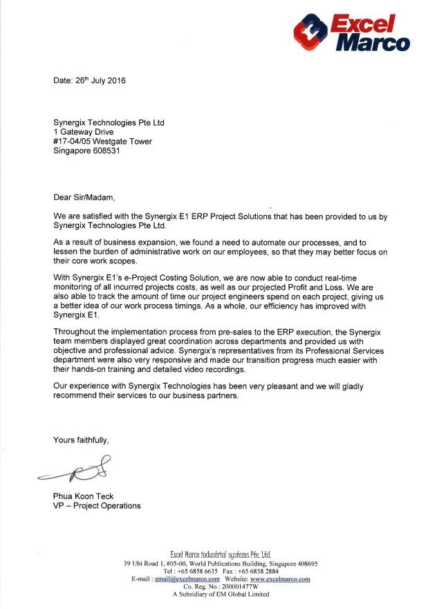 Excel Marco Industrial System Pte  Ltd  | ERP System Testimonials