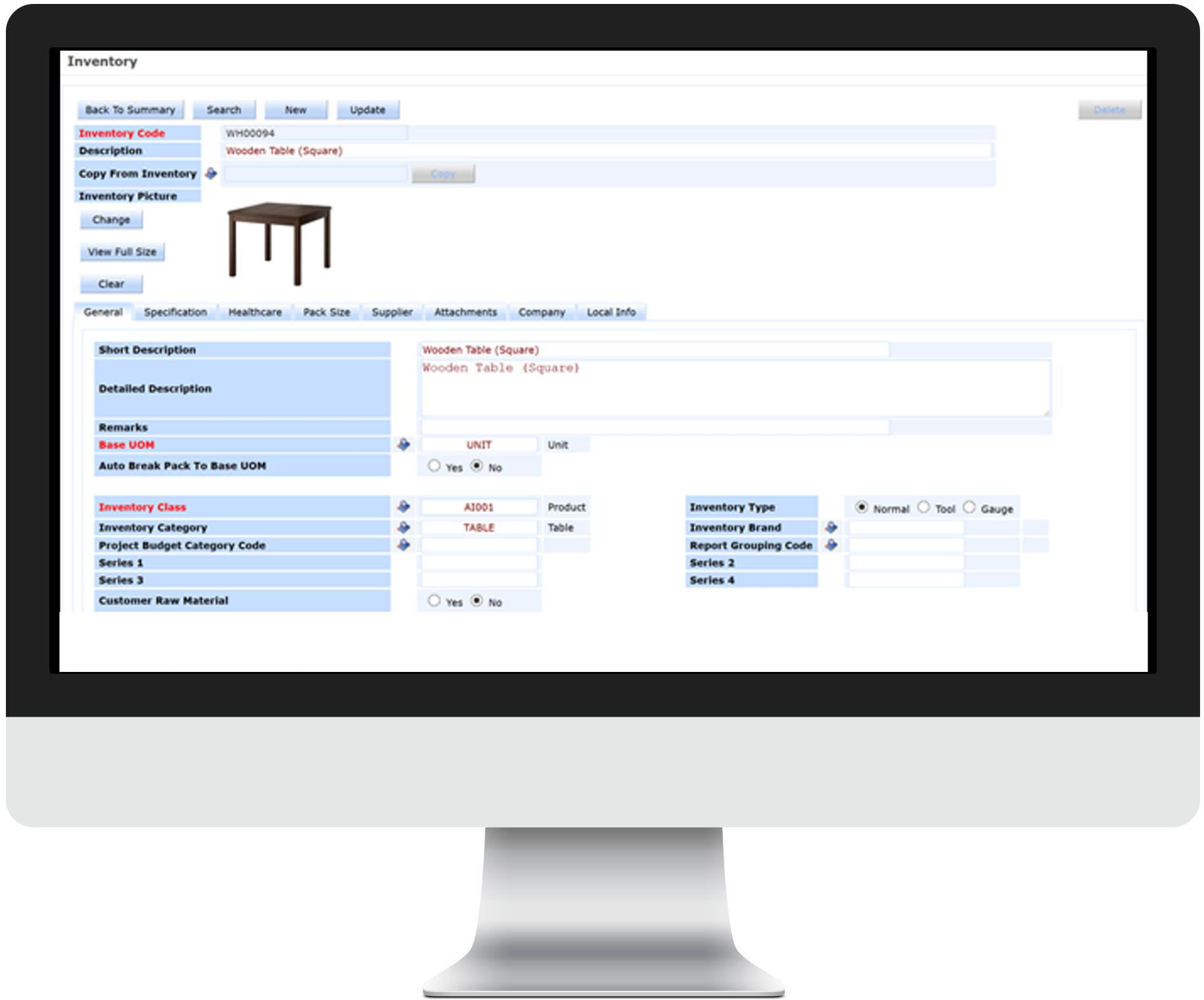 ERP solution Singapore - Inventory Management Screen