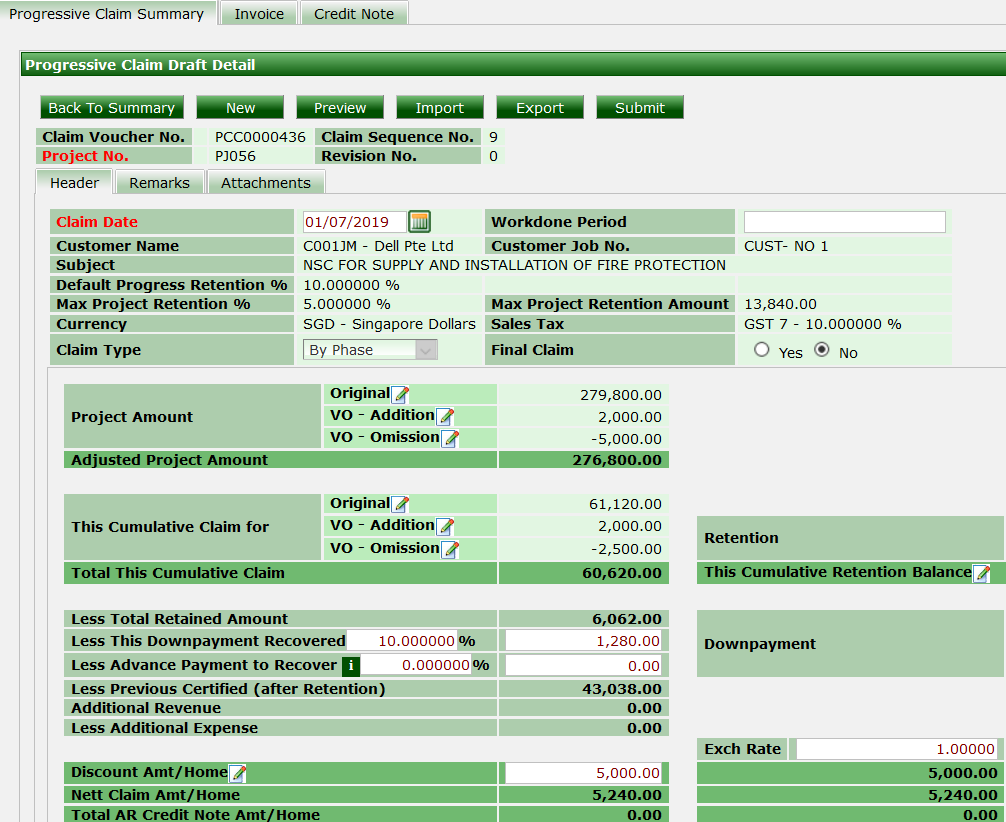 ERP System - Lump Sum Discount in Project Claim