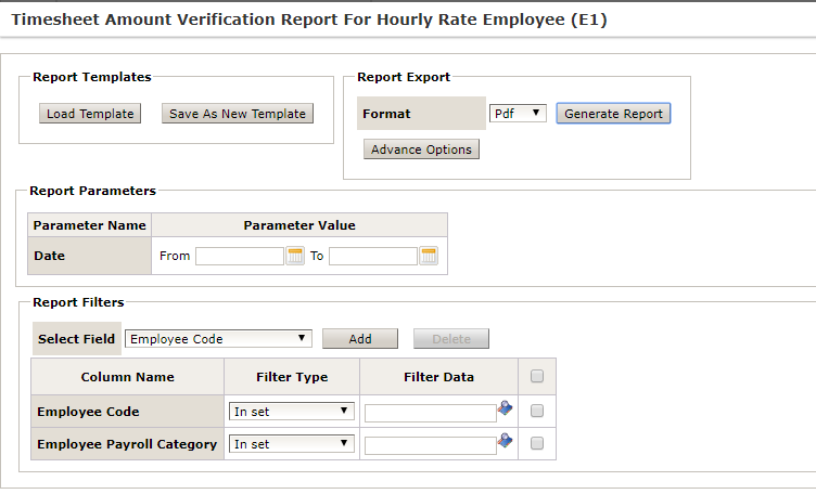 ERP System - Timesheet Amount Verification Report for Hourly Rate Employee