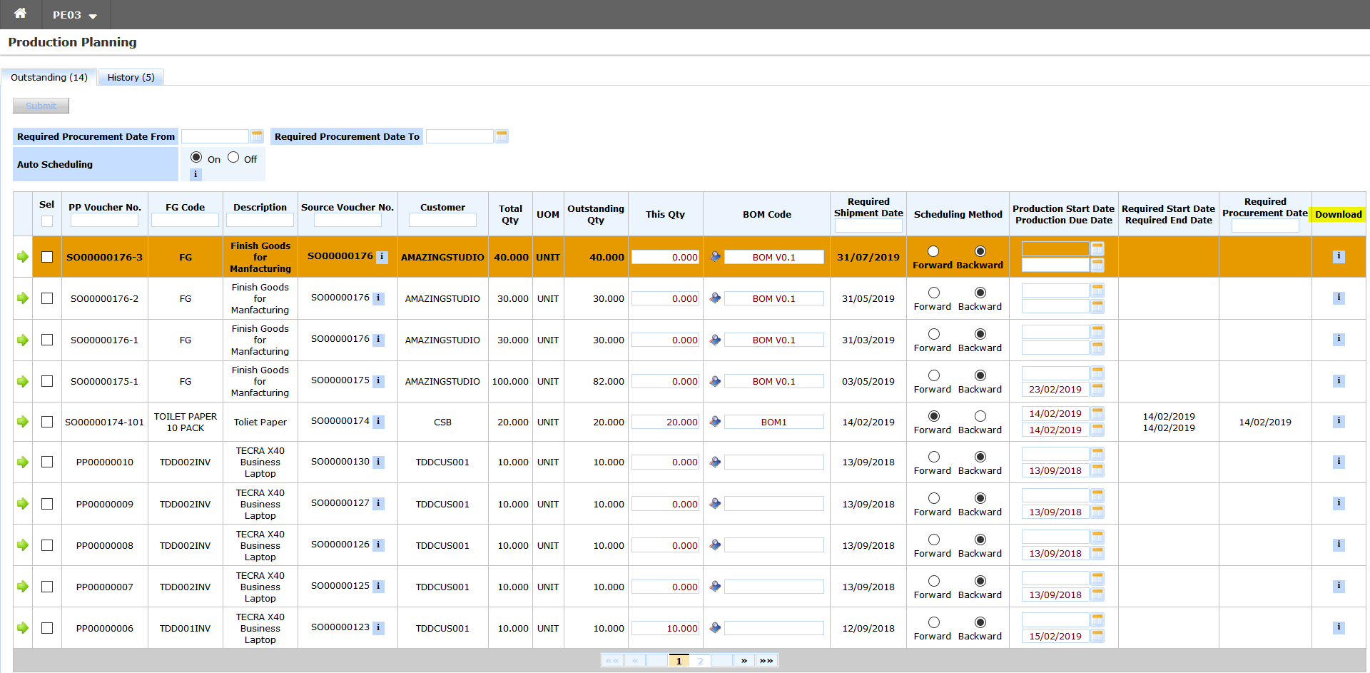 ERP System - View & Download Finished Goods Inventory Master Attachment(s) in Production Planning Screen