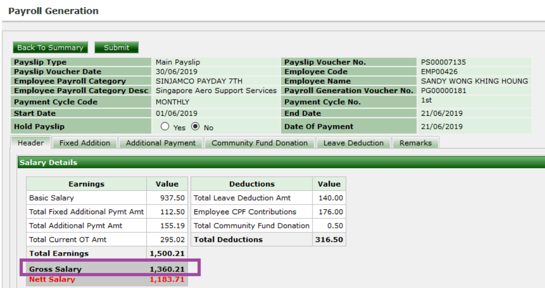 ERP System - Payslip to show Gross Salary