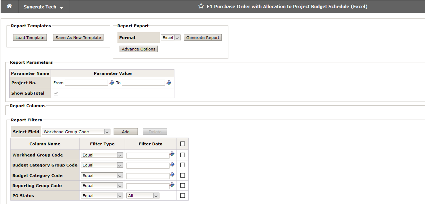 E1 Purchase Order with Allocation to Project Budget Schedule - ERP software