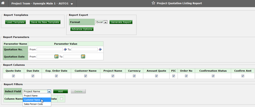 Quotation filter in Project Quotation Listing Report_ERP System