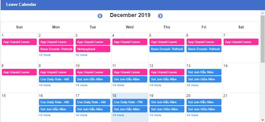 Leave Calendar - Synergix E1 ERP System Updates | December 2019