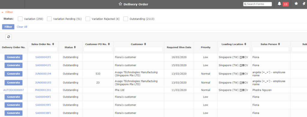Delivery Order 1024x393 - Synergix E1 ERP System Updates | March 2020
