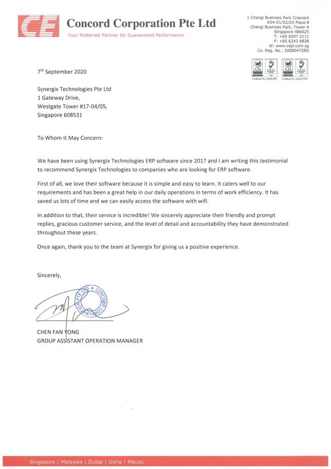 Client Testimonial Concord Corporation - Concord Corporation Pte Ltd