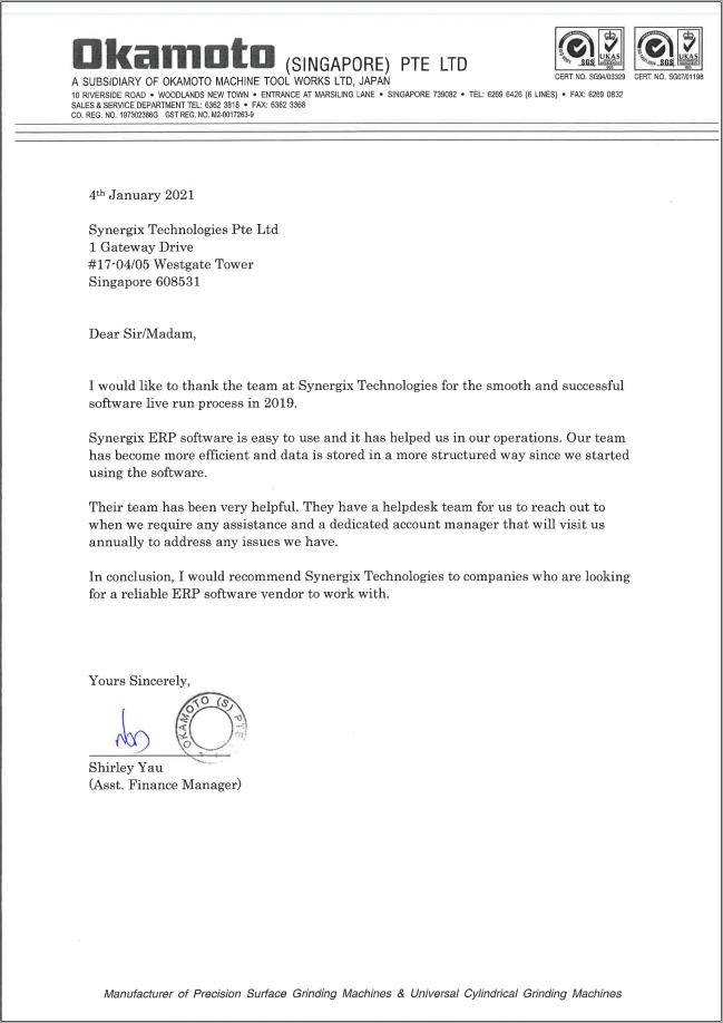 Testimonial Okamoto - Okamoto (Singapore) Pte Ltd