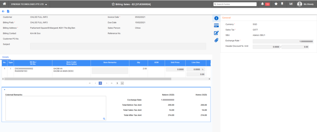 Billing Sales E2 1024x428 - Synergix ERP Software Updates - February 2021